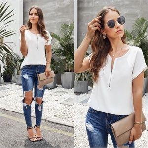 SELENA White short sleeve blouse